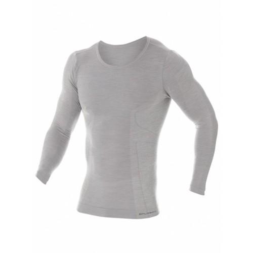 Футболка мужская с длинным рукавов Brubeck Comfort Wool серый