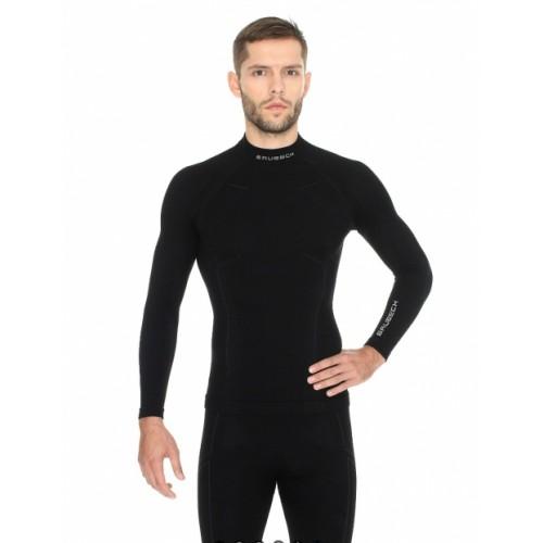 Футболка мужская с длинным рукавов Brubeck Wool Merino 78% черный