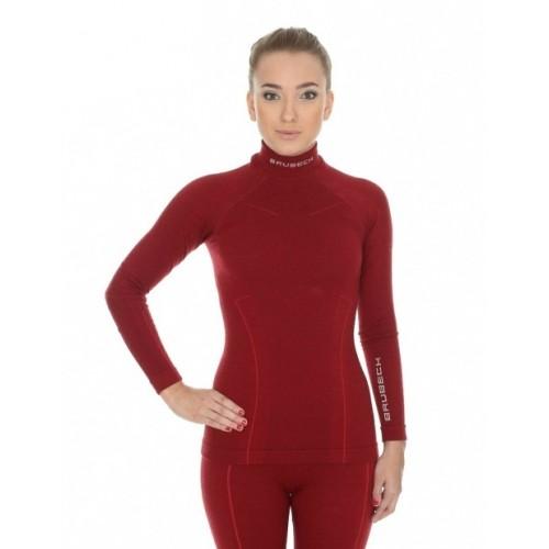 Футболка женская с длинным рукавов Brubeck Wool Merino 78% бордо