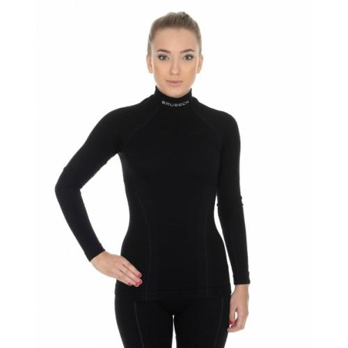 Футболка женская с длинным рукавов Brubeck Wool Merino 78% черный