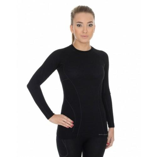 Футболка женская длинный рукав Brubeck Active Wool черный
