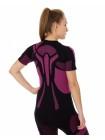Футболка женская короткий рукав Brubeck DRY черно-фиолетовый