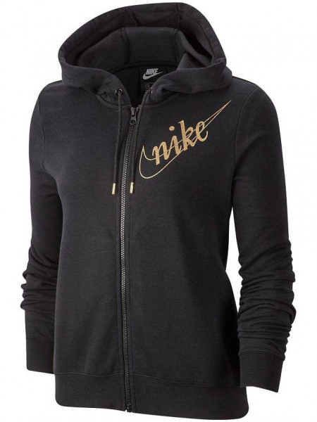 Толстовка Nike NSW Hoodie FZ FLC Glitter Long Sleeve Top (женская), черный