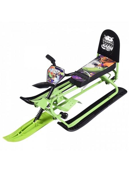 Снегокат-трансформер с колесиками и спинкой Small Rider Snow Comet 2 зеленый