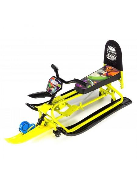 Снегокат-трансформер с колесиками и спинкой Small Rider Snow Comet 2 лайм