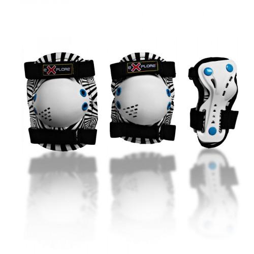 Налокотники и наколенники EXPLORE MAGNUM DELUX белый/черный/синий