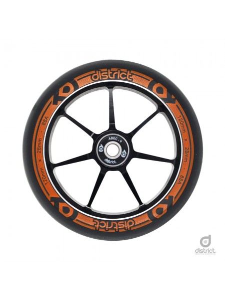 Колесо для самоката DISTRICT 120x28 mm. Dual Width Core - Black/Orange