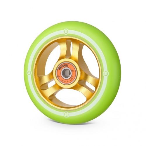 Колесо для самоката HIPE 3W 100мм золотой/светло-зеленый