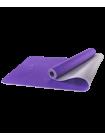 Коврик для йоги FM-201, TPE, 173x61x0,5 см, фиолетовый/серый