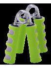 Эспандер кистевой пружинный ES-304, пара, мягкая ручка, зеленый/серый