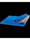 Коврик для йоги FM-201, TPE, 173x61x0,4 см, синий/серый