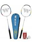 Набор для бадминтона Alumtec 502, 2 ракетки, 2 волана, синий/желтый