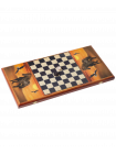 Нарды большие с цветным рисунком, деревянные шашки