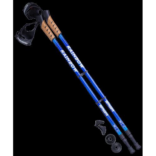 Палки для скандинавской ходьбы Rainbow, 77-135 см, 2-секционные, синий/голубой