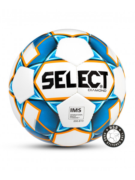 Мяч футбольный Diamond IMS, №3 белый/синий/оранжевый 1/36