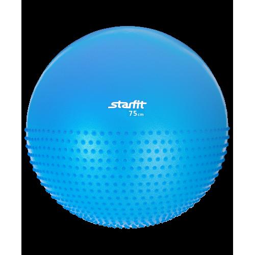 Мяч гимнастический полумассажный GB-201 75 см, антивзрыв, синий